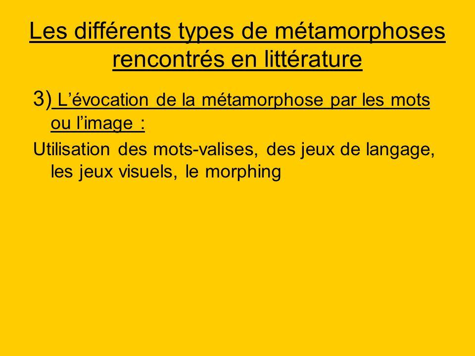 Les différents types de métamorphoses rencontrés en littérature