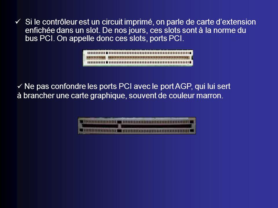 Si le contrôleur est un circuit imprimé, on parle de carte d'extension enfichée dans un slot. De nos jours, ces slots sont à la norme du bus PCI. On appelle donc ces slots, ports PCI.