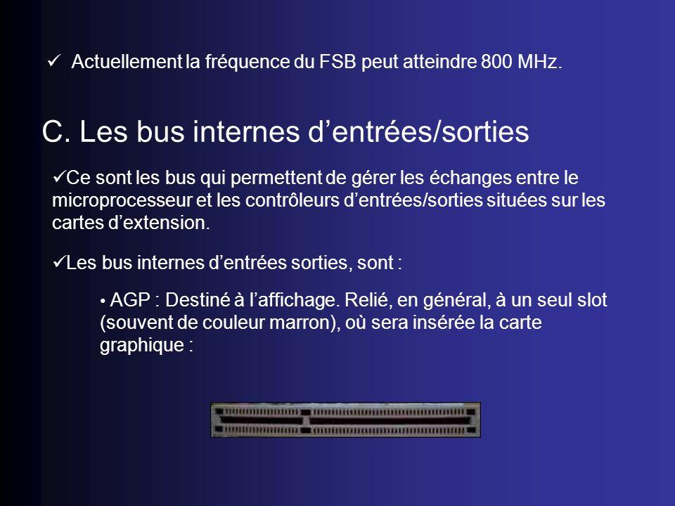 C. Les bus internes d'entrées/sorties