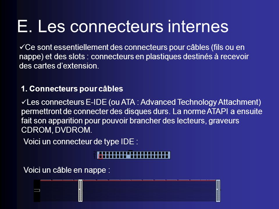 E. Les connecteurs internes