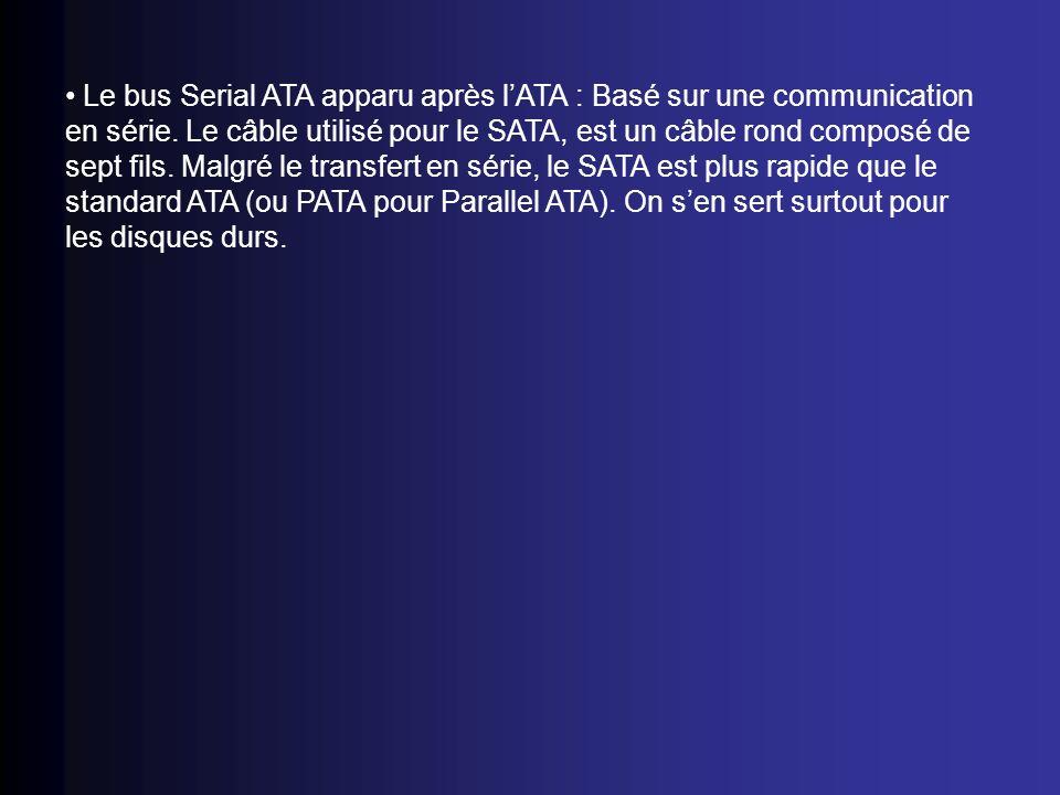 Le bus Serial ATA apparu après l'ATA : Basé sur une communication en série.