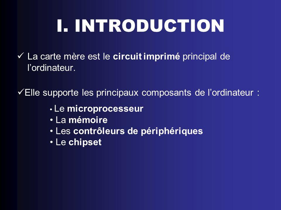 I. INTRODUCTIONLa carte mère est le circuit imprimé principal de l'ordinateur. Elle supporte les principaux composants de l'ordinateur :