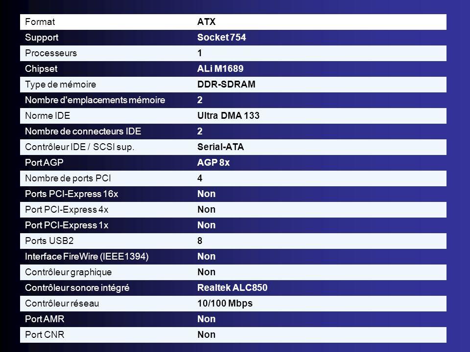 FormatATX. Support. Socket 754. Processeurs. 1. Chipset. ALi M1689. Type de mémoire. DDR-SDRAM. Nombre d emplacements mémoire.