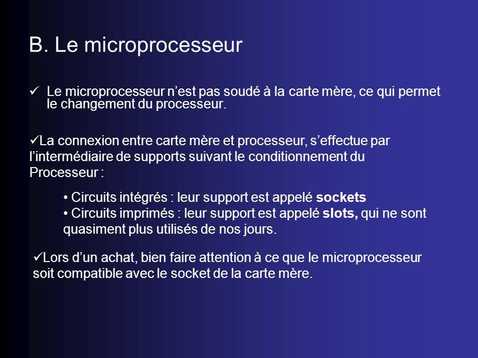 B. Le microprocesseurLe microprocesseur n'est pas soudé à la carte mère, ce qui permet le changement du processeur.
