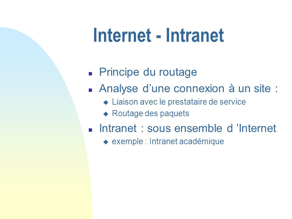 Internet - Intranet Principe du routage