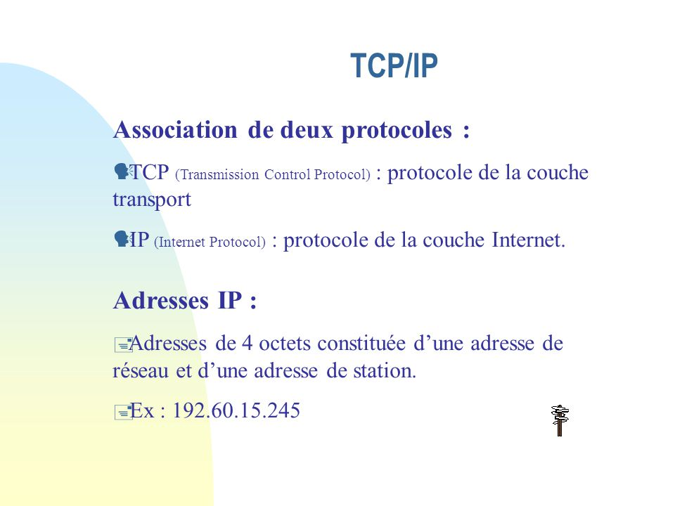 TCP/IP Association de deux protocoles : Adresses IP :