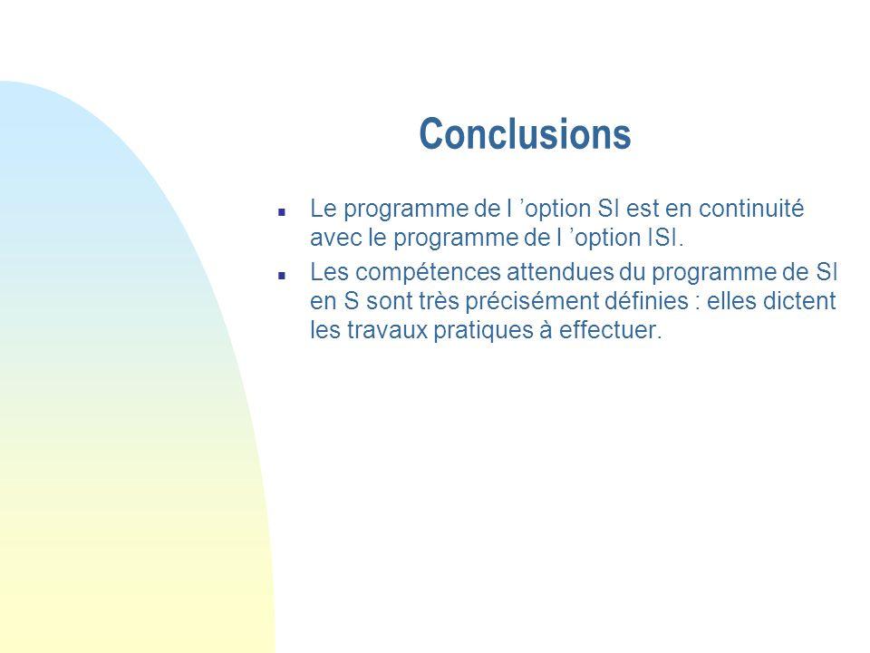 Conclusions Le programme de l 'option SI est en continuité avec le programme de l 'option ISI.