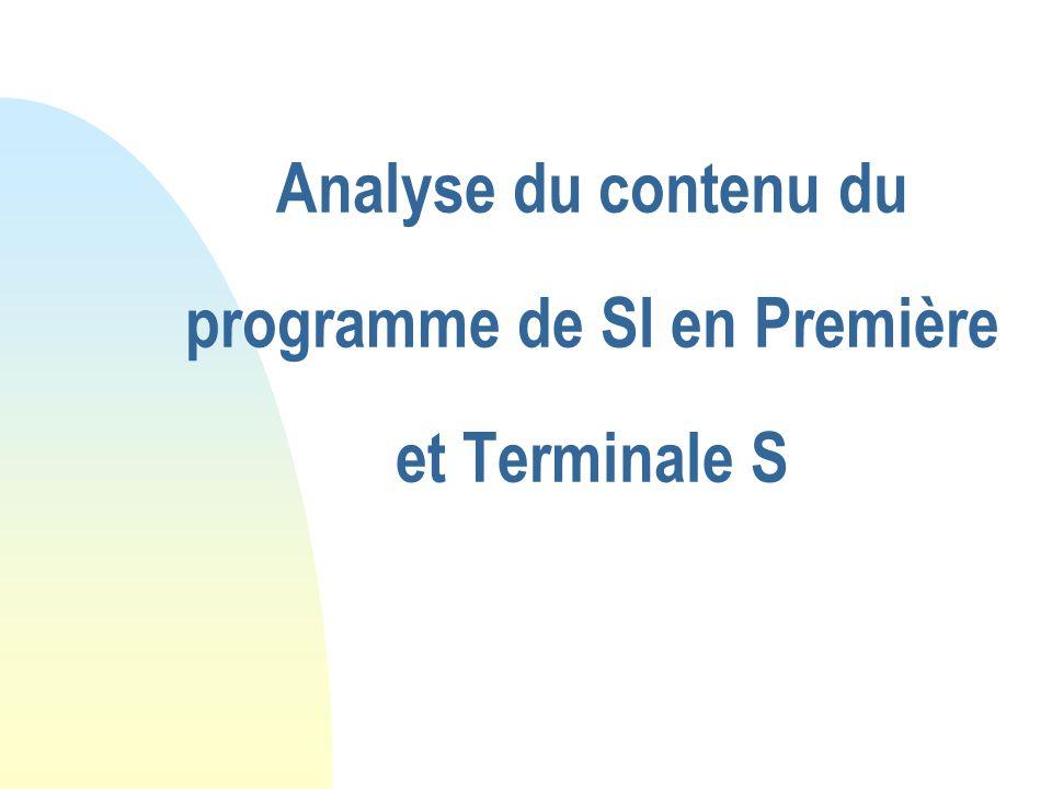 Analyse du contenu du programme de SI en Première et Terminale S