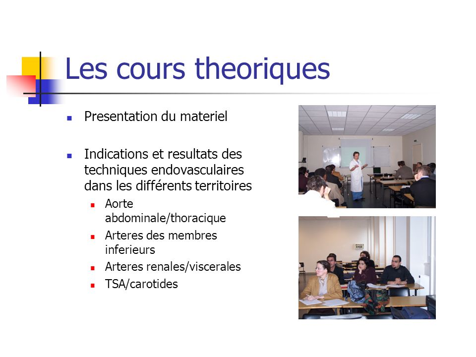 Les cours theoriques Presentation du materiel
