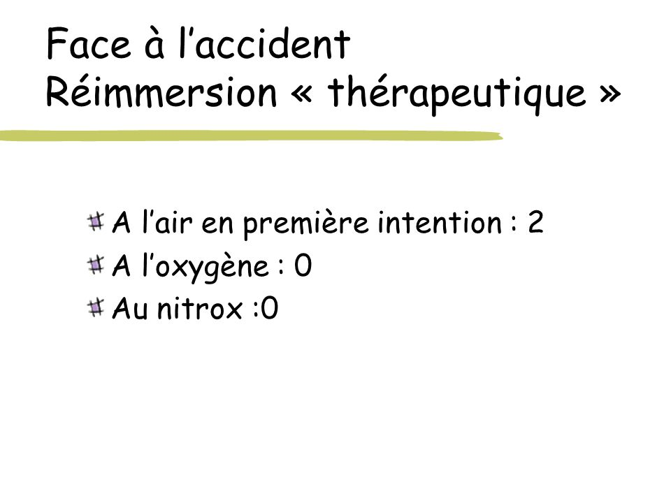 Face à l'accident Réimmersion « thérapeutique »