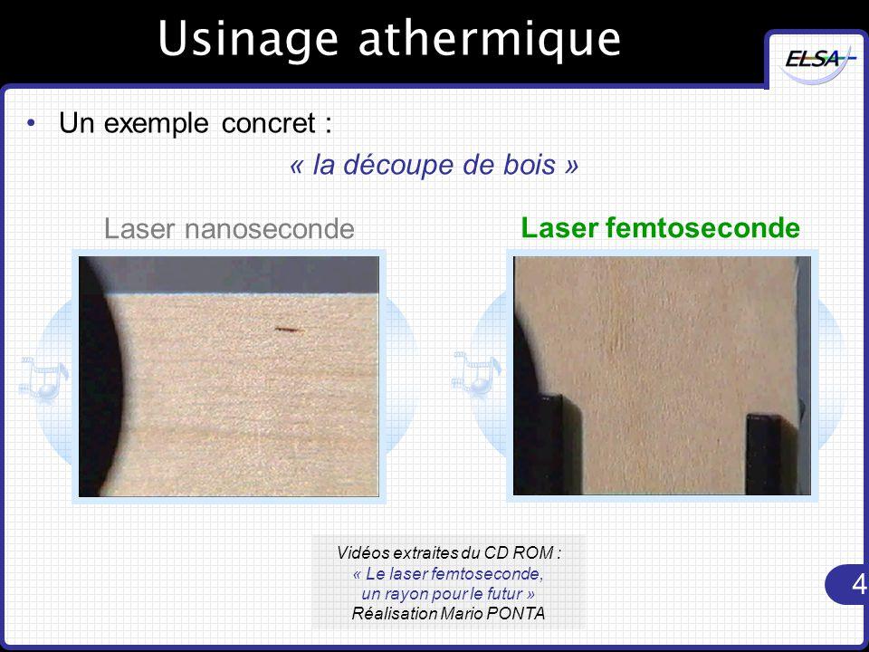 Usinage athermique Un exemple concret : « la découpe de bois »