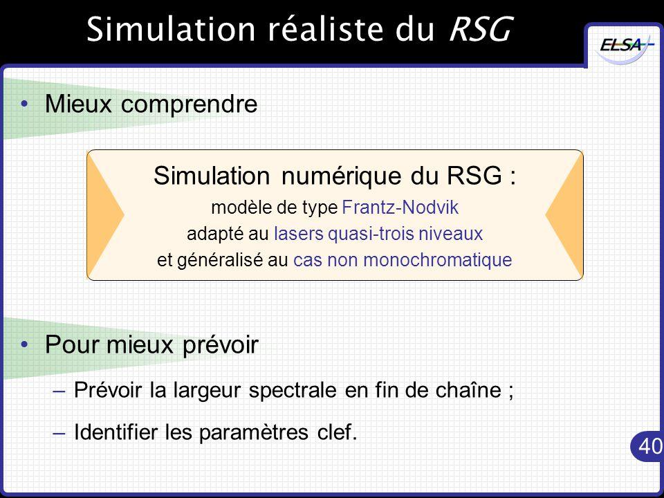 Simulation réaliste du RSG
