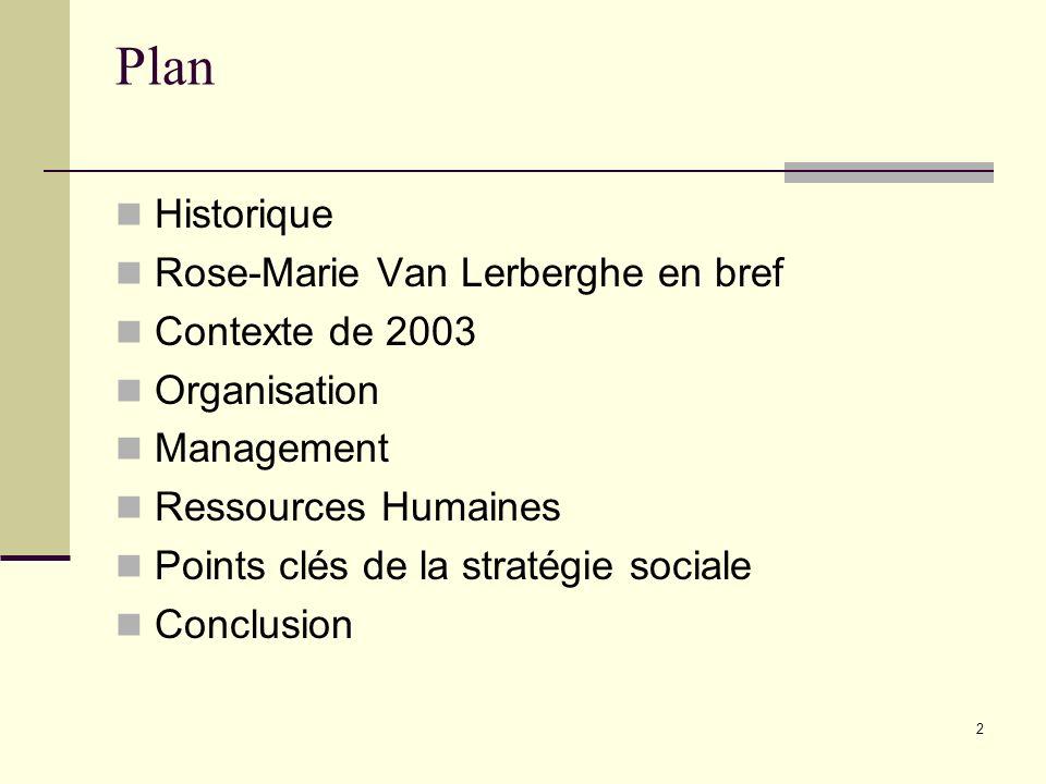 Plan Historique Rose-Marie Van Lerberghe en bref Contexte de 2003