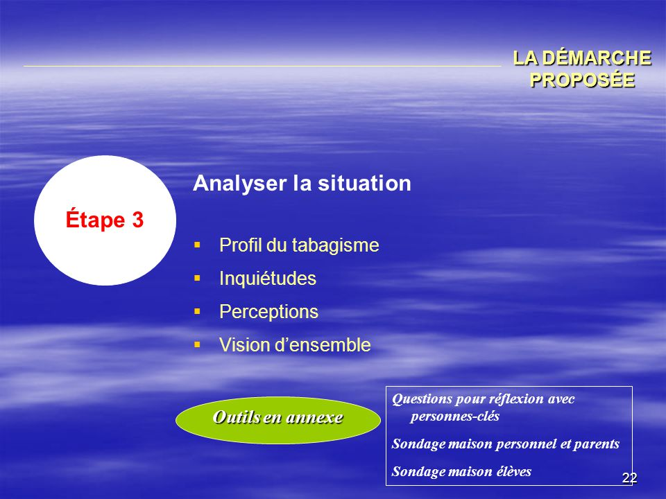 Analyser la situation Étape 3 LA DÉMARCHE PROPOSÉE Profil du tabagisme