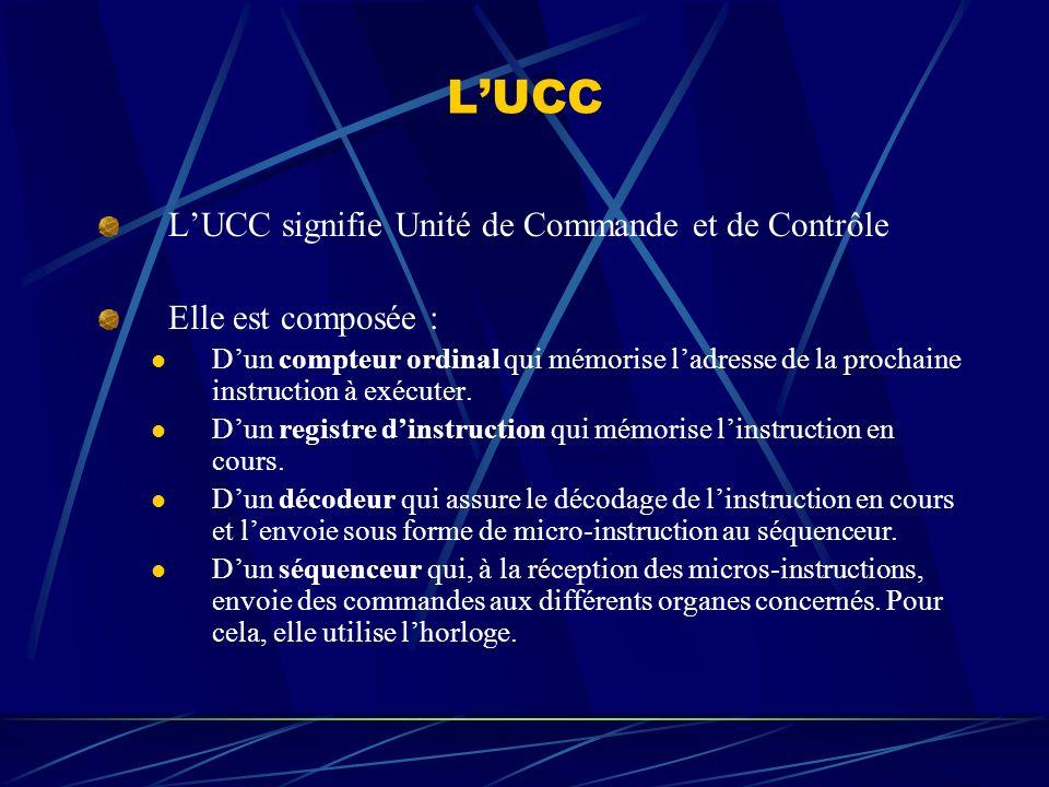 L'UCC L'UCC signifie Unité de Commande et de Contrôle