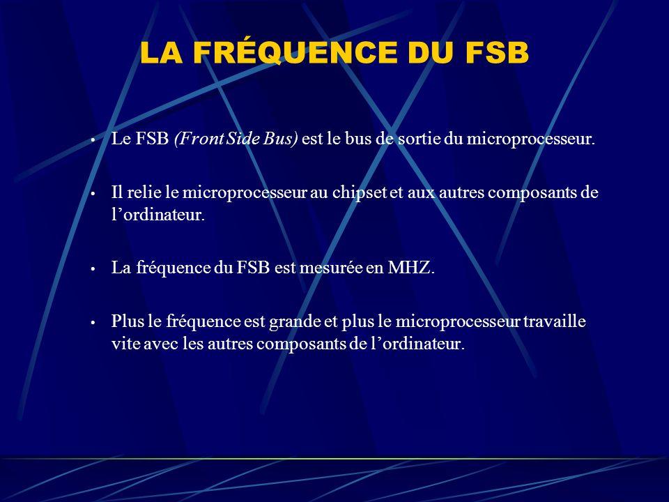 LA FRÉQUENCE DU FSB Le FSB (Front Side Bus) est le bus de sortie du microprocesseur.