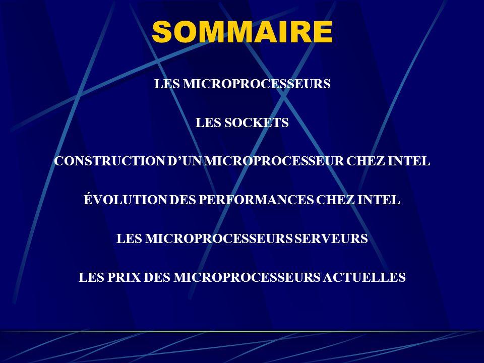 SOMMAIRE LES MICROPROCESSEURS LES SOCKETS