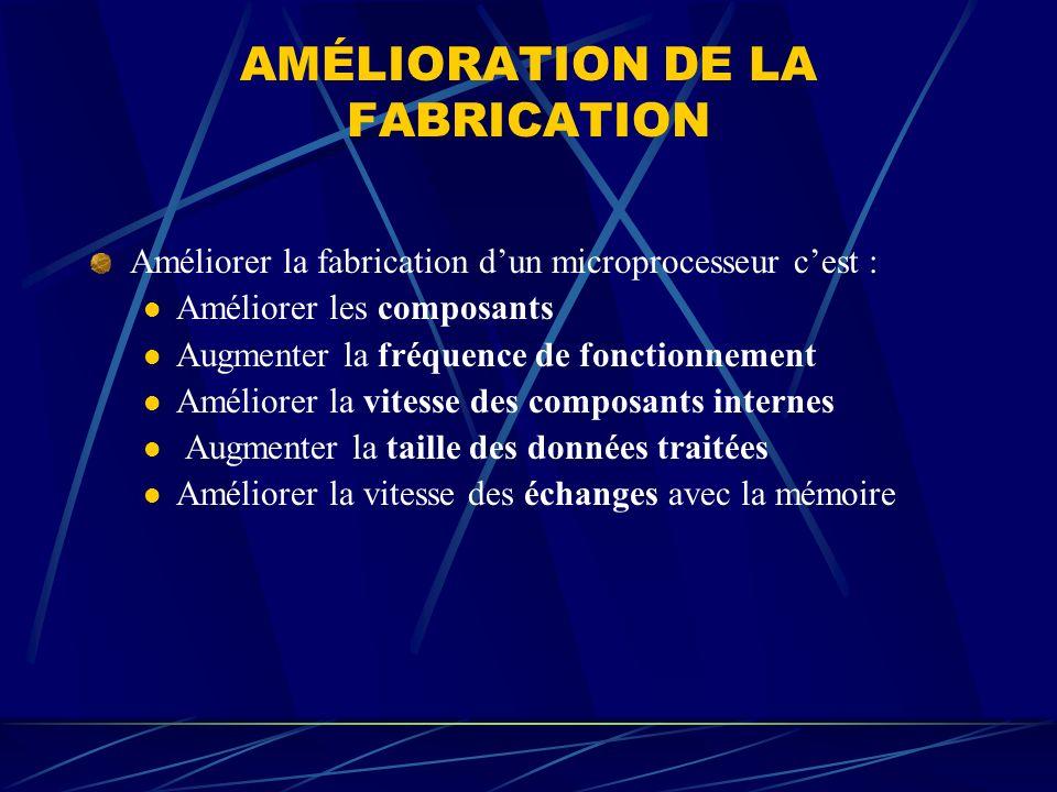 AMÉLIORATION DE LA FABRICATION