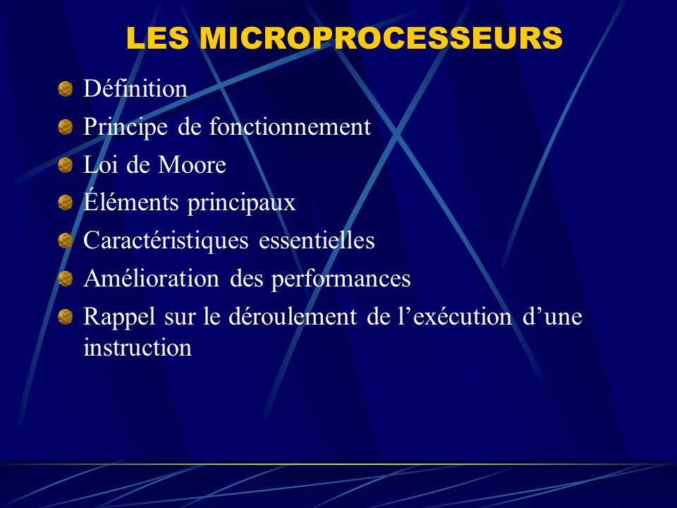 LES MICROPROCESSEURS Définition Principe de fonctionnement