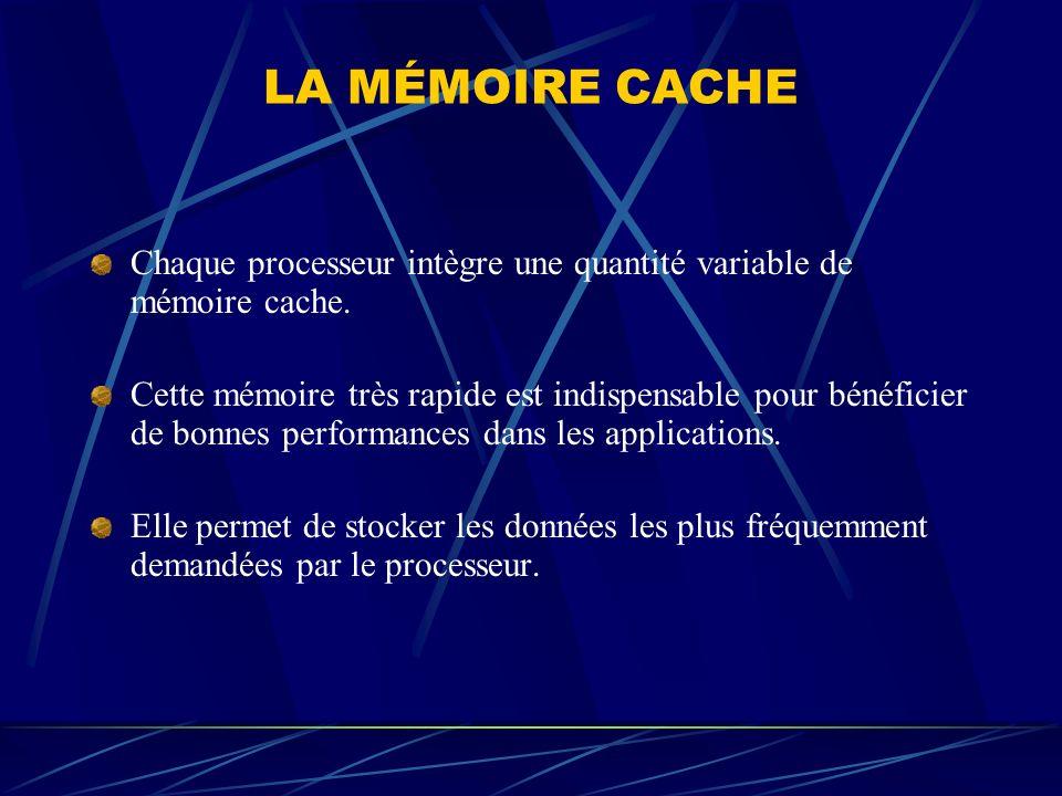 LA MÉMOIRE CACHE Chaque processeur intègre une quantité variable de mémoire cache.