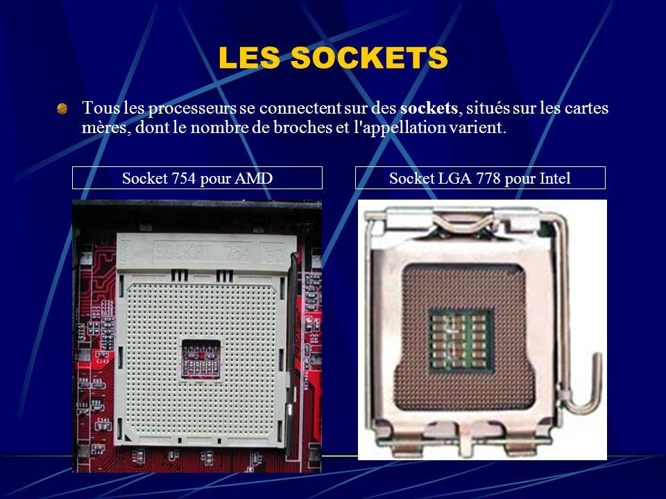 LES SOCKETS Tous les processeurs se connectent sur des sockets, situés sur les cartes mères, dont le nombre de broches et l appellation varient.