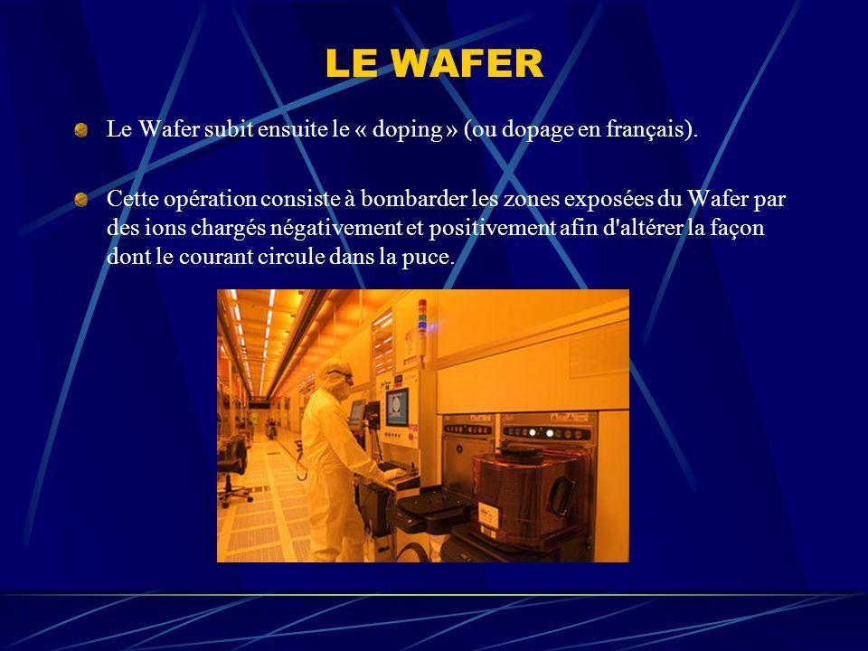 LE WAFER Le Wafer subit ensuite le « doping » (ou dopage en français).