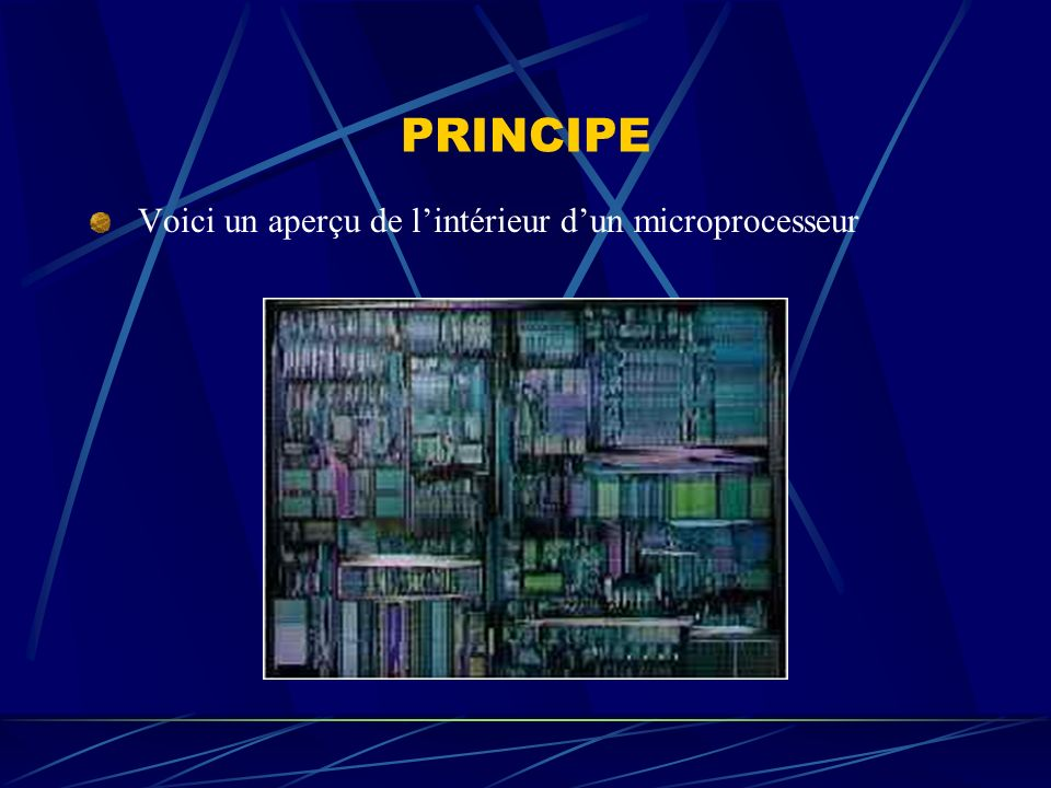 PRINCIPE Voici un aperçu de l'intérieur d'un microprocesseur