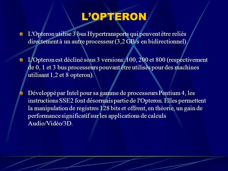 L'OPTERON L Opteron utilise 3 bus Hypertransports qui peuvent être reliés directement à un autre processeur (3,2 GB/s en bidirectionnel).