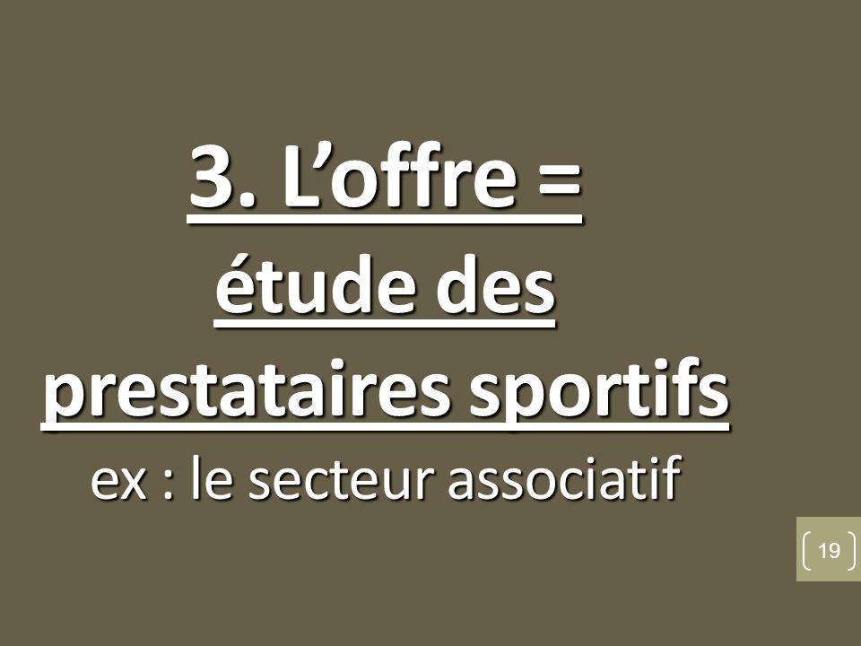 3. L'offre = étude des prestataires sportifs ex : le secteur associatif