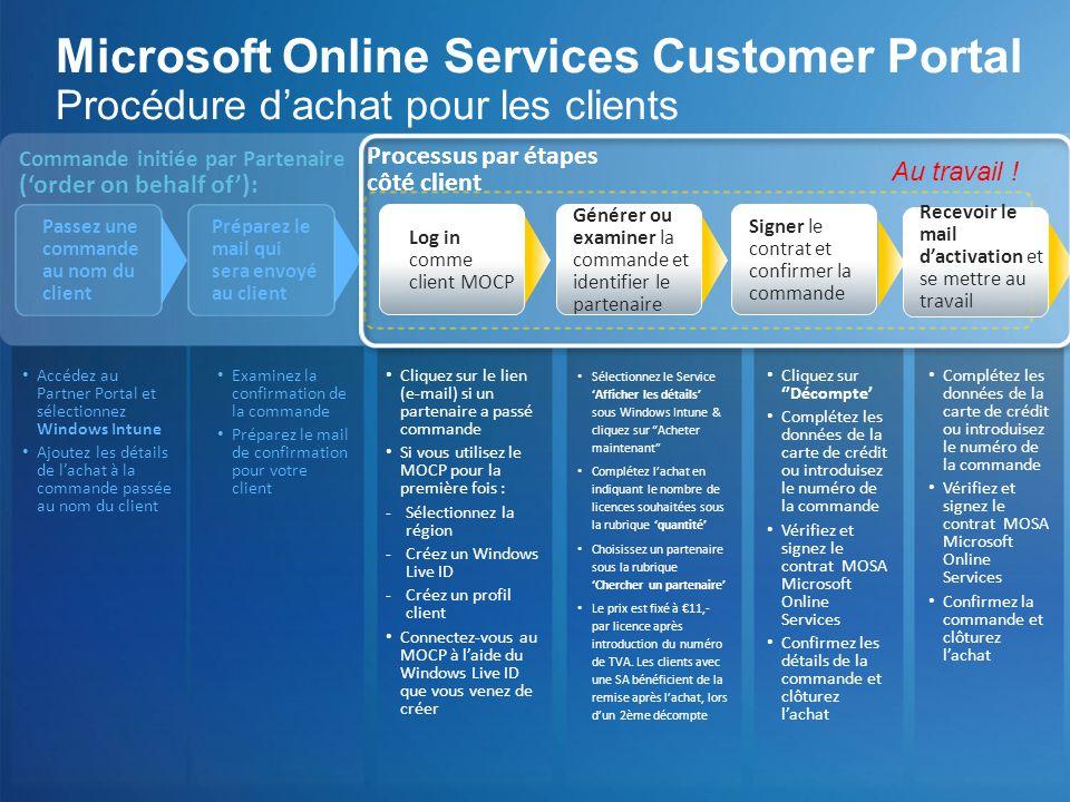 Microsoft Online Services Customer Portal Procédure d'achat pour les clients