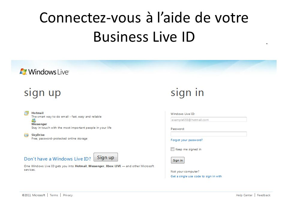 Connectez-vous à l'aide de votre Business Live ID