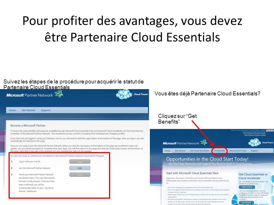 Pour profiter des avantages, vous devez être Partenaire Cloud Essentials