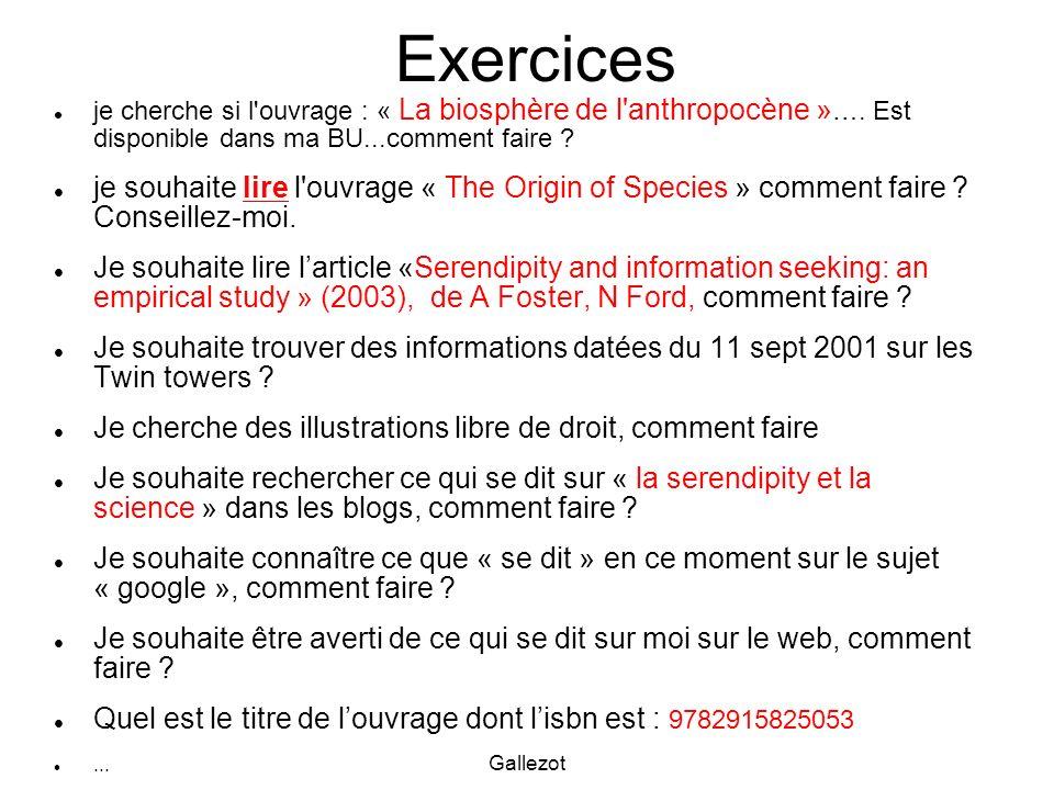 Exercices je cherche si l ouvrage : « La biosphère de l anthropocène »…. Est disponible dans ma BU...comment faire