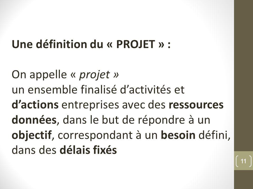 Une définition du « PROJET » :