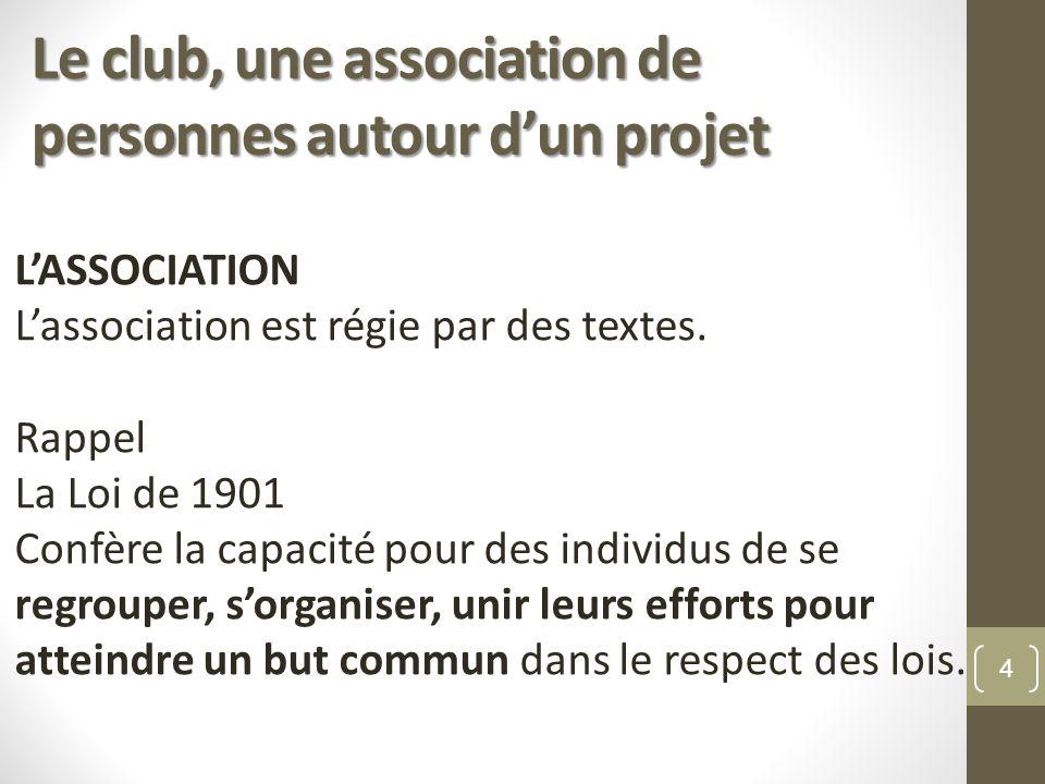 Le club, une association de personnes autour d'un projet