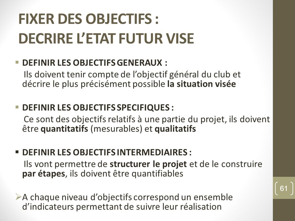 FIXER DES OBJECTIFS : DECRIRE L'ETAT FUTUR VISE