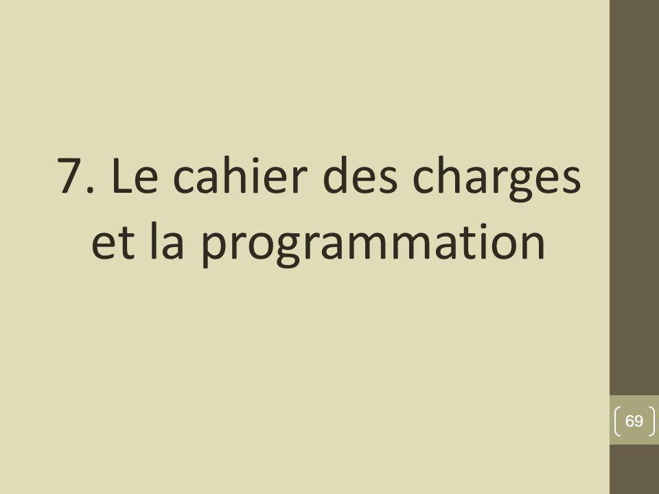 7. Le cahier des charges et la programmation