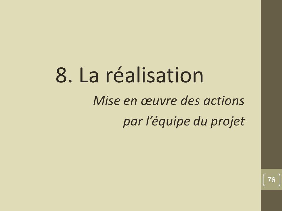 8. La réalisation Mise en œuvre des actions par l'équipe du projet