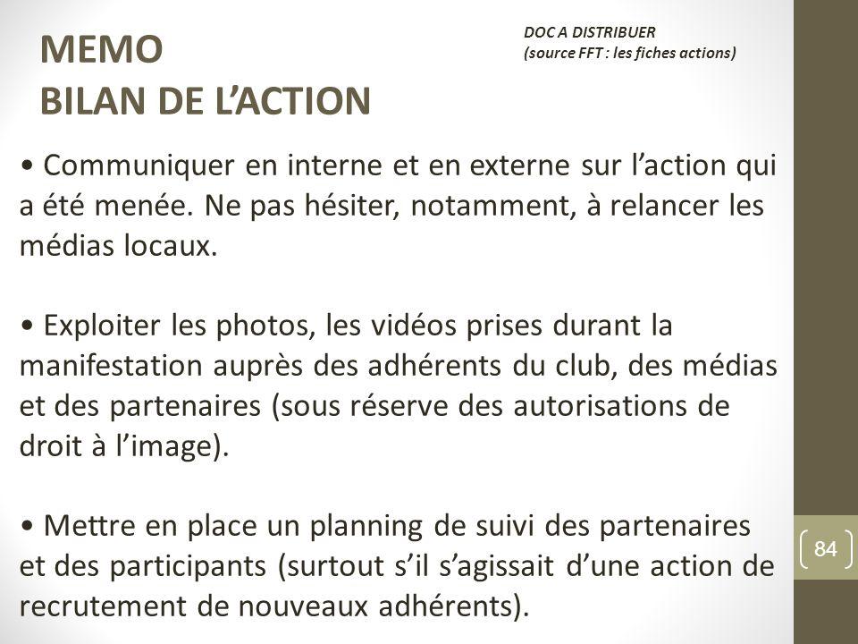 MEMO BILAN DE L'ACTION. DOC A DISTRIBUER. (source FFT : les fiches actions)