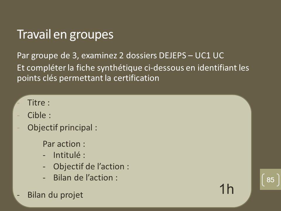 Travail en groupes Par groupe de 3, examinez 2 dossiers DEJEPS – UC1 UC.