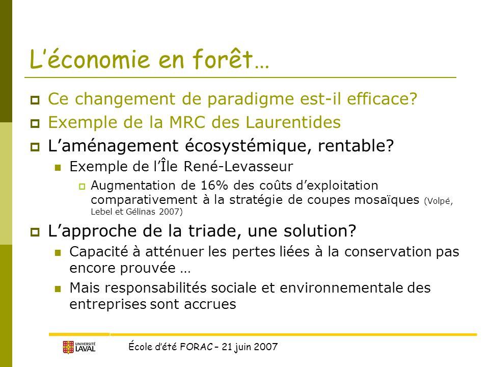 L'économie en forêt… Ce changement de paradigme est-il efficace