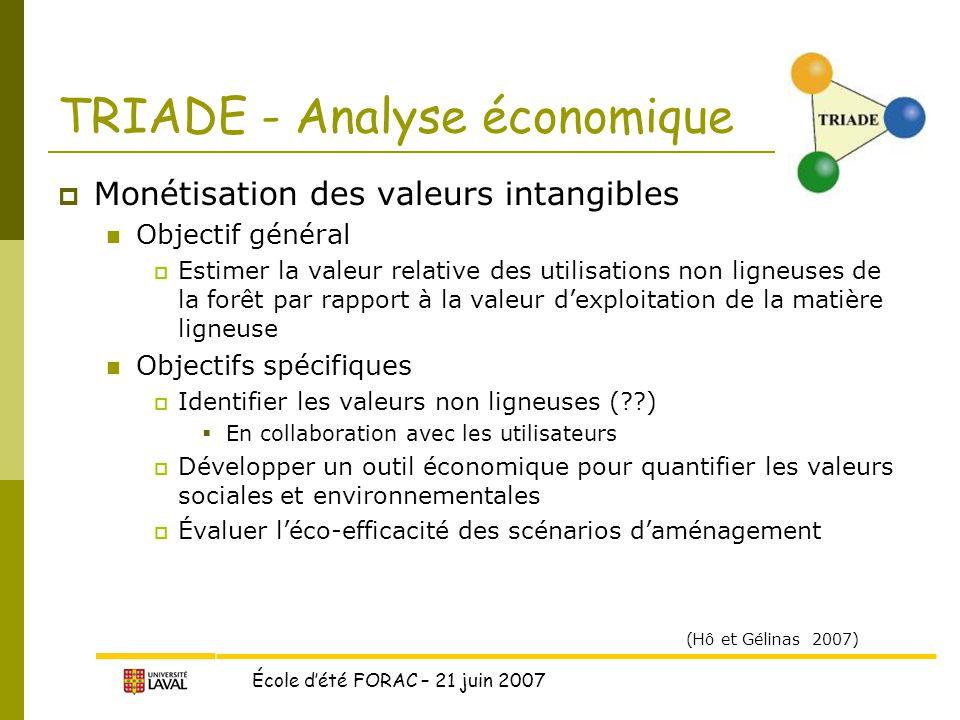 TRIADE - Analyse économique