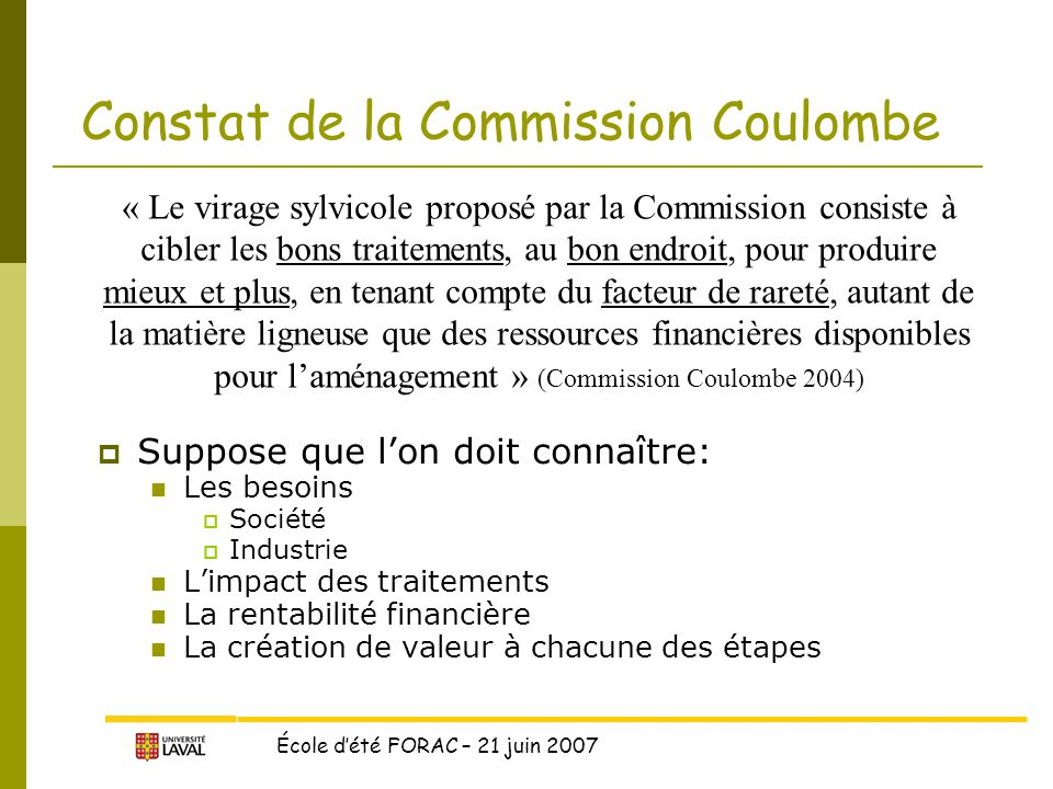 Constat de la Commission Coulombe