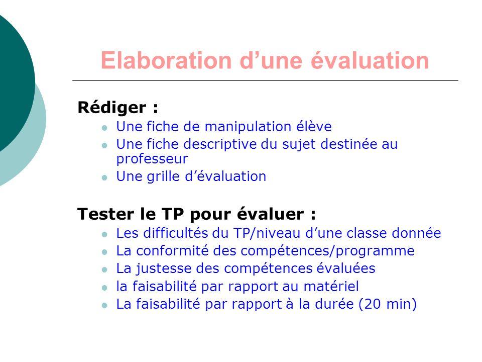 Elaboration d'une évaluation