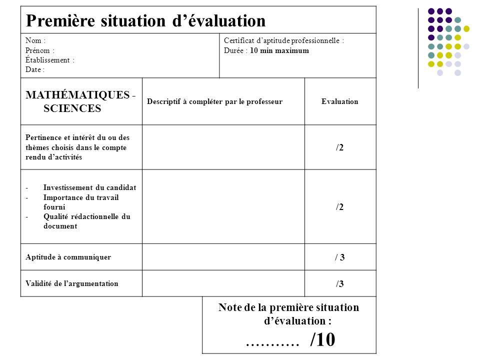 Note de la première situation d'évaluation :