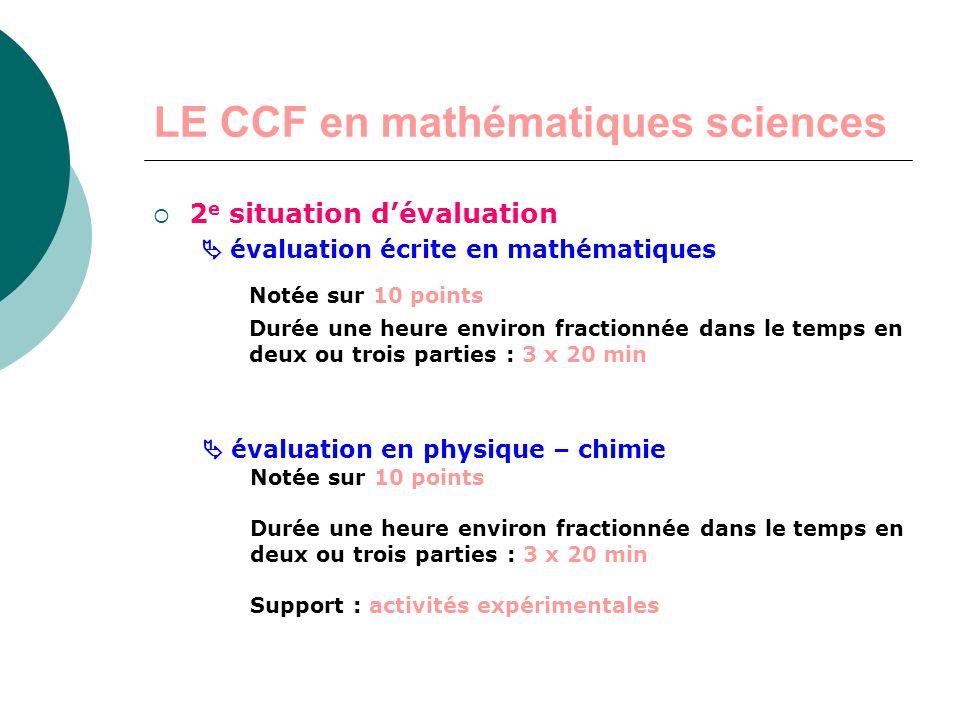 LE CCF en mathématiques sciences