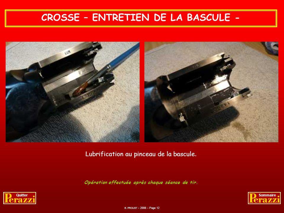CROSSE – ENTRETIEN DE LA BASCULE -