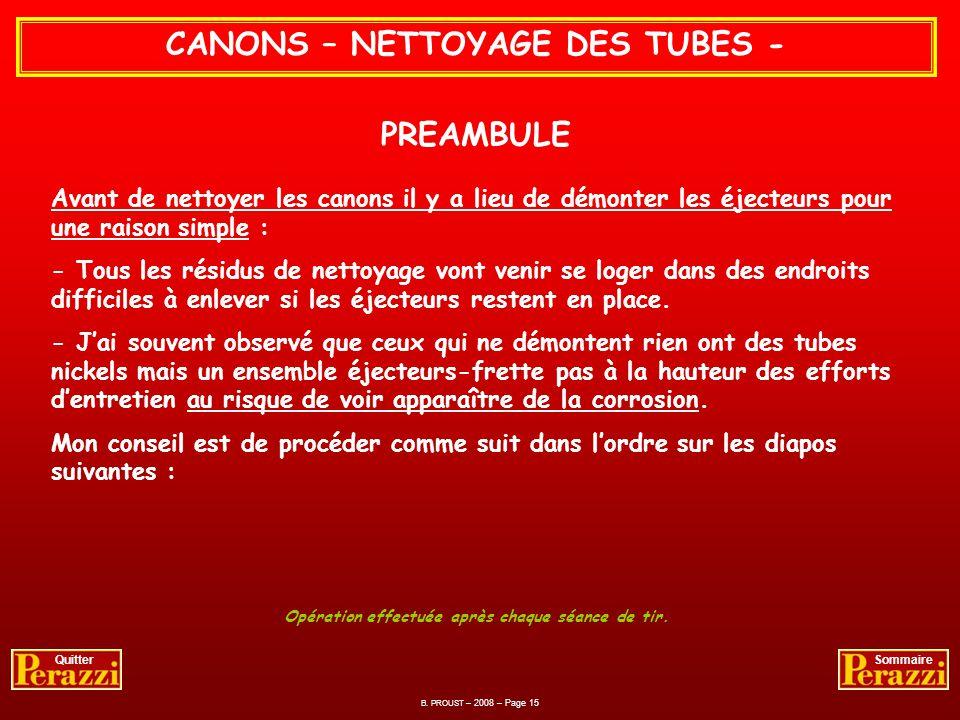 CANONS – NETTOYAGE DES TUBES - PREAMBULE