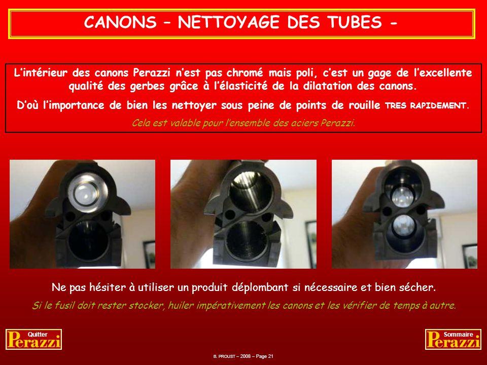 CANONS – NETTOYAGE DES TUBES -