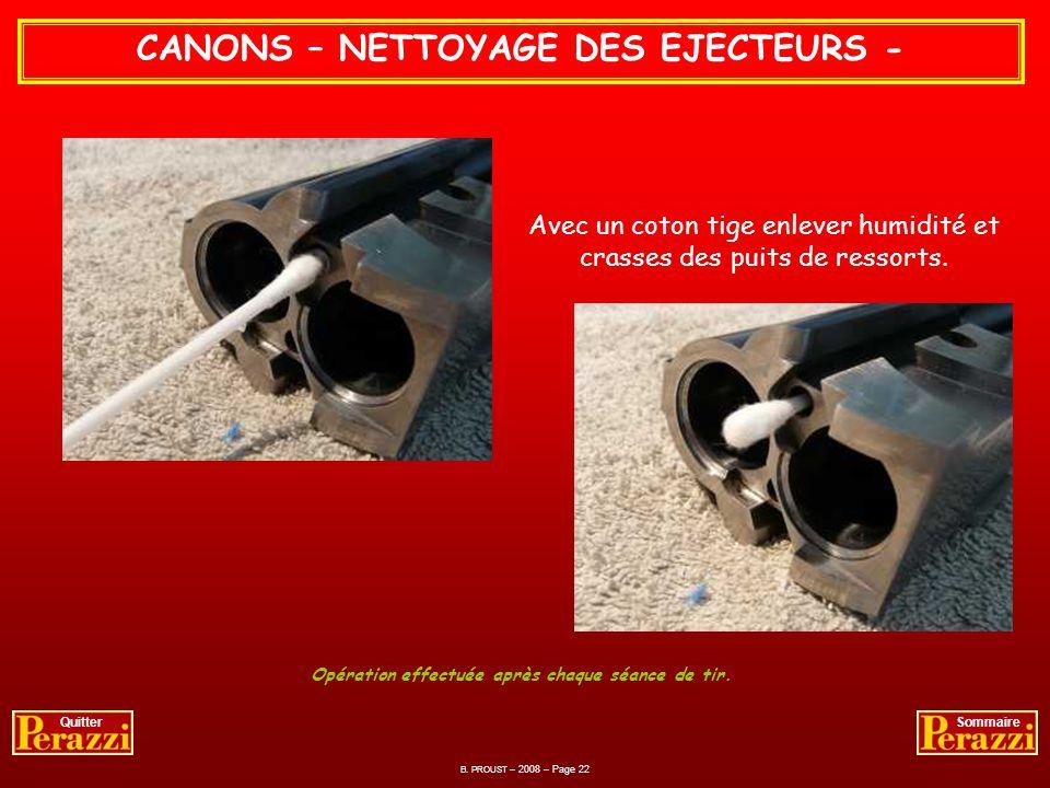 CANONS – NETTOYAGE DES EJECTEURS -